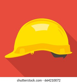 construction helmet icon in flat style with long shadow, isolated vector illustration on red transparent background