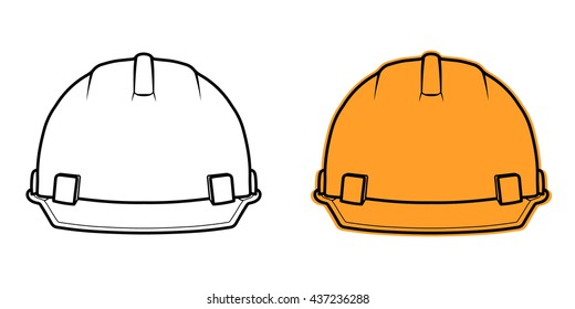 Construction helmet icon front view isolated on white background. Element safety in construction work. Safety during the construction. Vector illustration of a building helmet.