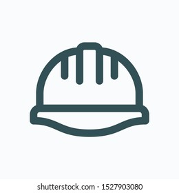 Construction helmet isolated icon, hard hat linear vector icon
