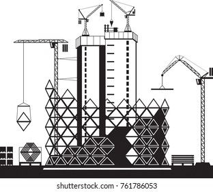 Construction of high rise buildings - vector illustration