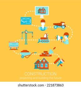 Construction home building renovation flat style design vector illustration concept. Collage of construction architecture business people object tools infographics. Big flat conceptual collection.