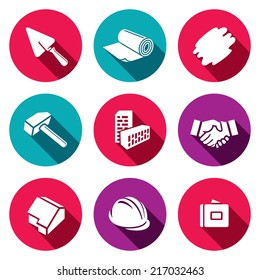 Construction and home repair flat icons set