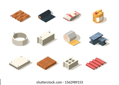 Construction icon. Material for industrial builders wood bricks pile tubes sand bitumen slab roof vector isometric