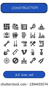 construction icon set. 25 filled construction icons.  Simple modern icons about  - Floor, Paint roller, Architecture, Cube, Skyscrapper, Gloves, Chartres cathedral, Qutb minar