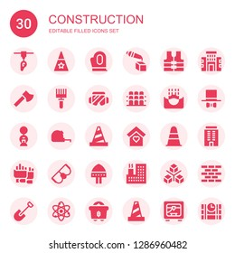 construction icon set. Collection of 30 filled construction icons included d printer, Hat, Gloves, Vest, Ax, Rake, Safety glasses, Grandstand, Submerge, Building, Measuring tape