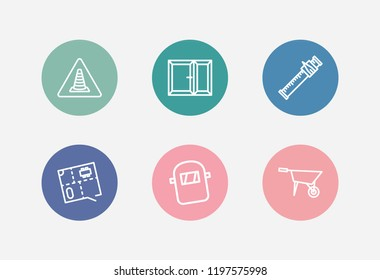 Construction icon set and floor plan with construction badge, window and sliding scale. Pushcart related construction icon vector for web UI logo design.
