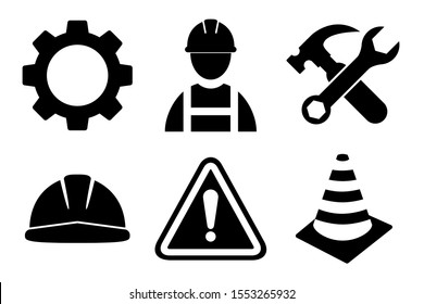 Construction icon set on white background. Construction man, helmet, gear, tools, exclamation mark icon in flat style design. Vector illustration.