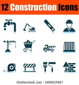 Construction Icon Set. Shadow Reflection Design. Vector Illustration.