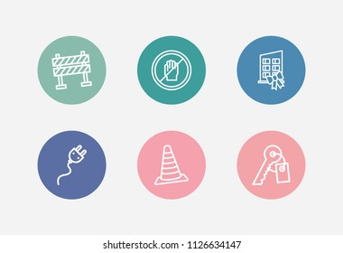 Construction icon set and stop hand with new building, key and barrier. Roadblock related construction icon vector for web UI logo design.