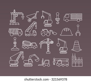Construction icons cranes and equipment. Thin Line vector set