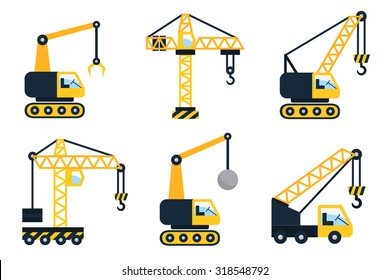Construction icons, different types of cranes. Flat set vector illustration.