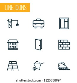 Construction icons line style set with equipment, lifting hook, glass frame and other brickwork elements. Isolated vector illustration construction icons.