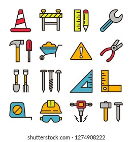 Construction icons pack. Isolated construction symbols collection. Graphic icons element