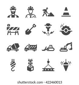 Construction icons set 1. Included the icons as engineer, worker, labor, construct, building, construction site and more.