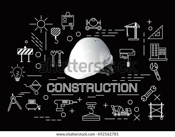 construction icons set and building line