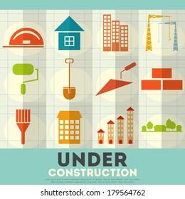 Construction Icons. Set of Building Symbols in Flat Design. Vector Illustration.