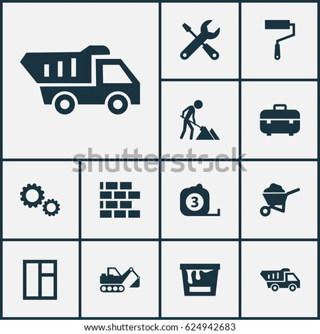 Construction Icons Set Collection Digger Paint Stock Vector