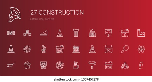 construction icons set. Collection of construction with house, paint roller, pencil case, atoms, column, sand, wheelbarrow, toolbox. Editable and scalable construction icons.