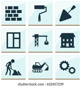 Construction Icons Set. Collection Of Maintenance, Spatula, Lifting Hook And Other Elements. Also Includes Symbols Such As Frame, Digger, Excavator.