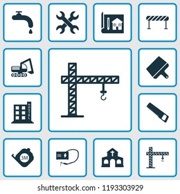 Construction icons set with crane, putty knife, roulette and other blueprint elements. Isolated vector illustration construction icons.