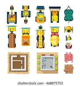 Construction icons set top view with construction machines flat isolated vector illustration