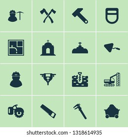 Construction icons set with trowel, milling machine, auger and other worker elements. Isolated vector illustration construction icons.