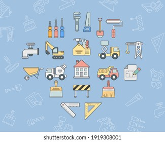 Construction Icons set - Vector color symbols and outline of building, crane, truck, bulldozer, saw, wrench, shovel and other tool for the site or interface