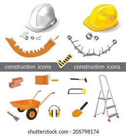 construction icons set vector smile