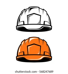 Construction, industrial helmet in cartoon style on white background. Black and white and color versions. Vector illustration