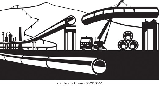 Construction of industrial pipelines - vector illustration