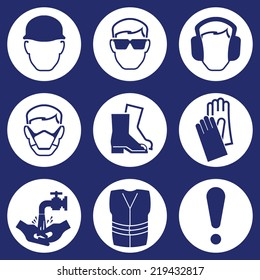 Construction Industry Health and Safety Icons isolated on blue background