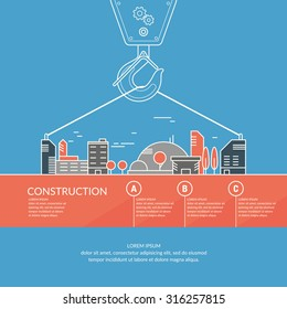 Construction. Infographics. Elements for cards, illustration, poster and web design.