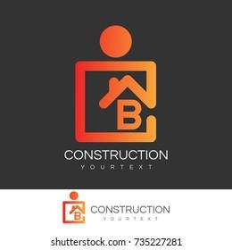 construction initial Letter B Logo design