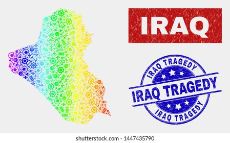 Construction Iraq map and blue Iraq Tragedy distress seal stamp. Rainbow colored gradient vector Iraq map mosaic of industrial. Blue rounded Iraq Tragedy seal.
