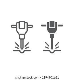 Construction jackhammer line and glyph icon, tool and repair, pneumatic hammer sign, vector graphics, a linear pattern on a white background, eps 10.