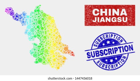 Construction Jiangsu Province map and blue Subscription grunge seal. Spectral gradiented vector Jiangsu Province map mosaic of industrial elements. Blue rounded Subscription seal.