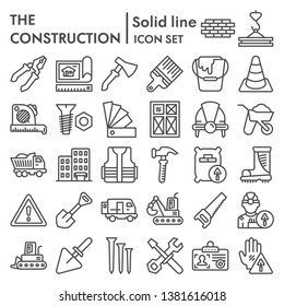 Construction line icon set, repair symbols collection, vector sketches, logo illustrations, building signs linear pictograms package isolated on white background, eps 10