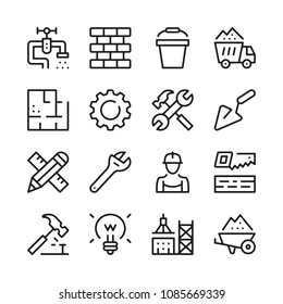 Construction line icons set. Modern graphic design concepts, simple outline elements collection. Vector line icons