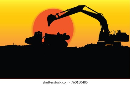Construction Loading and digging  silhouette vector wallpaper background sunset