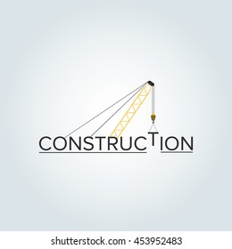 Construction logo design and crane with background