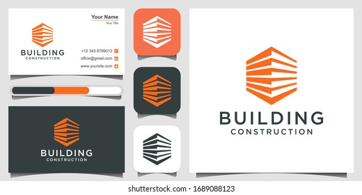 construction logo design template. building Abstract For Logo Design Inspiration. logo design, 3 favicons and business card Premium Vector.
