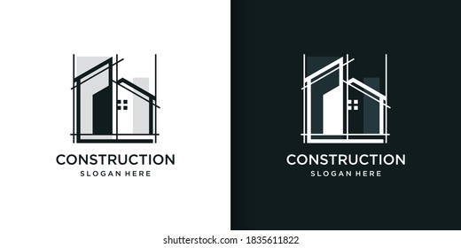 Construction logo part 2 with line art style, building, unique, Premium Vector