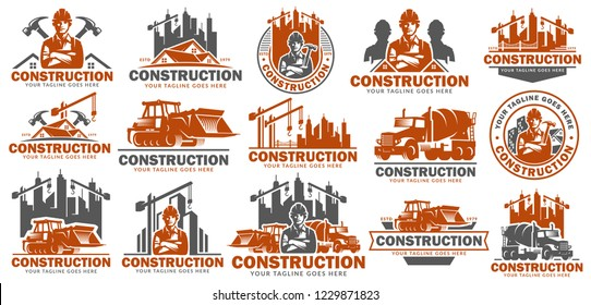 Construction logo template set, logo pack, logo bundles, vector pack of Construction logo, easy to edit