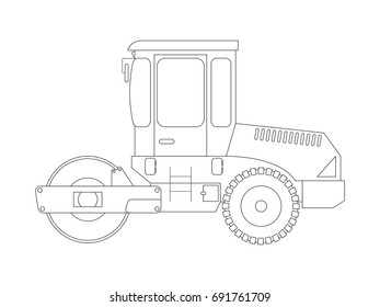 Construction machine. Asphalt compactor. Coloring pages for children