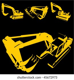 construction machine silhouette set