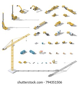 Construction machinery and equipment  isometric icon set vector graphic illustration