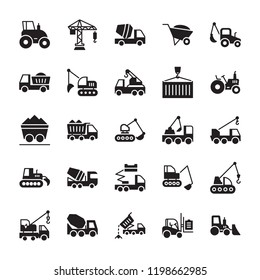 Construction Machinery Glyph Vector Icons