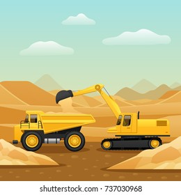 Construction machinery for ground works composition with excavator loading dumper truck with sand flat vector illustration
