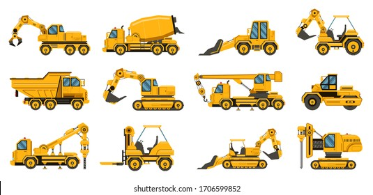 Construction machinery. Heavy road equipment trucks, forklifts and tractors, excavation crane truck isolated vector illustration set. Equipment transportation construction, industry crane