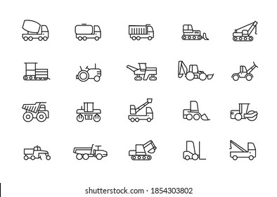 Construction machinery linear contour illustrations icons set. Heavy duty machines outline symbols pack. Collection of road repair equipment icons isolated. Vehicle. Auto cement truck. Editable stroke